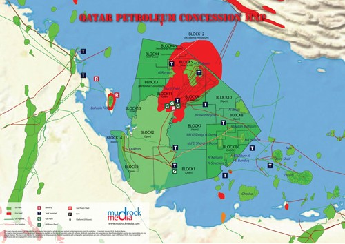 Qatar Oil and Gas Map - A4 Size