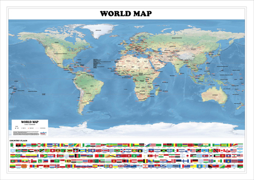 world physical map a0 size